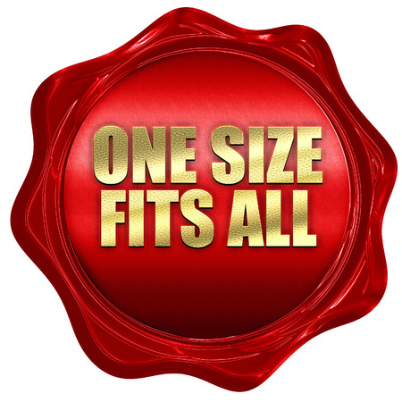 one size fits all, 3D rendering, red wax stamp with text Imagens