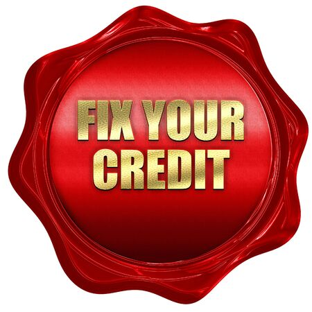 fix your credit, 3D rendering, red wax stamp with text