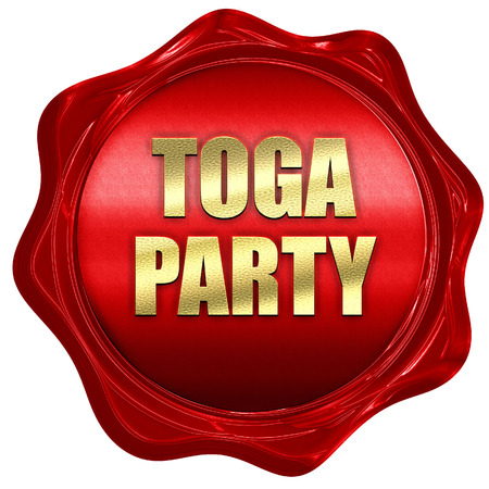 toga: toga party, 3D rendering, red wax stamp with text