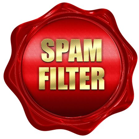 anti piracy: spam filter, 3D rendering, red wax stamp with text