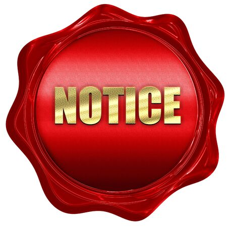 wax stamp: notice, 3D rendering, red wax stamp with text