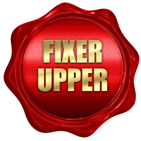 fixer upper, 3D rendering, red wax stamp with text Stock Photo