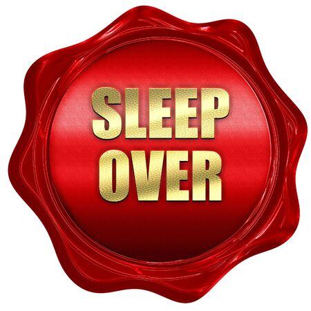 pijamada: sleepover, 3D rendering, red wax stamp with text Foto de archivo