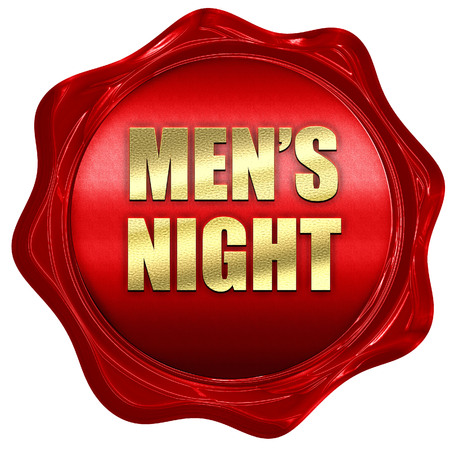 mens night, 3D rendering, red wax stamp with text