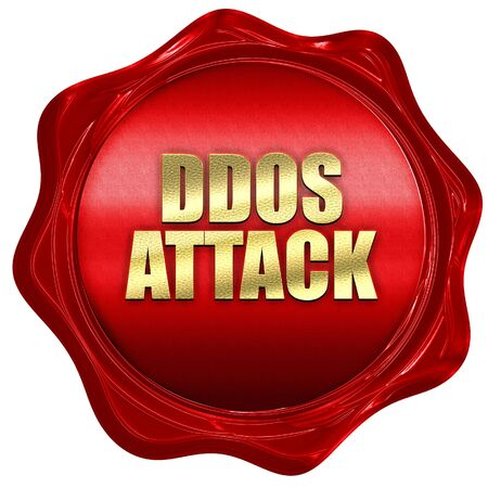ddos attack, 3D rendering, red wax stamp with text Stock Photo