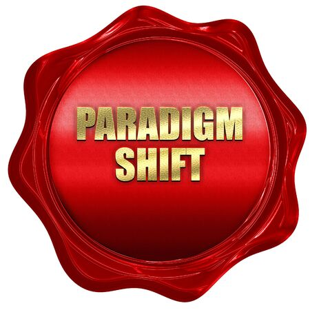 shift: paradigm shift, 3D rendering, red wax stamp with text