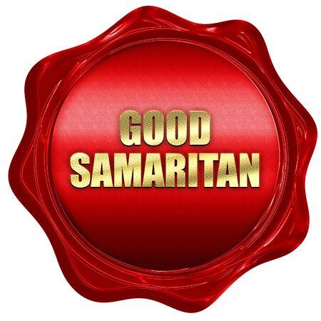 good samaritan: good samaritan, 3D rendering, red wax stamp with text