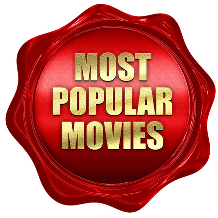 popularity: most popular movies, 3D rendering, red wax stamp with text Stock Photo