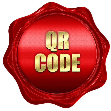 qr code, 3D rendering, red wax stamp with text Stock Photo