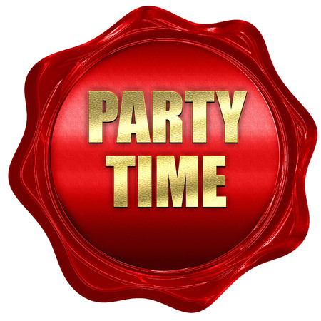 party time, 3D rendering, red wax stamp with text