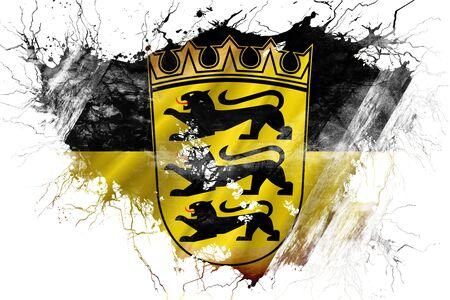 Grunge old Baden Wurttemberg flag