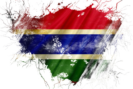 Grunge old Gambia flag Stock Photo