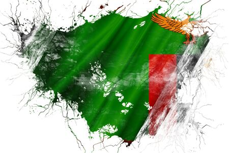 zambia: Grunge old Zambia flag Stock Photo