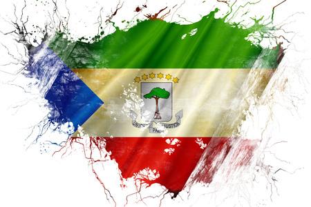 Grunge vieja bandera de Guinea Ecuatorial