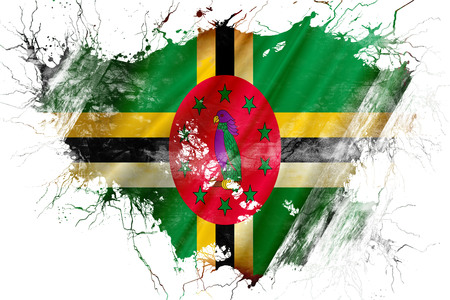 Grunge old Dominica flag Stock Photo