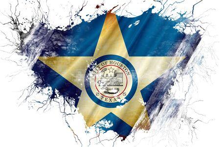 houston flag: Grunge old Houston flag