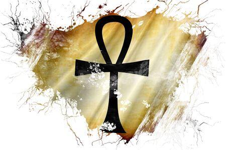 horus: Bandera del símbolo del ankh del Grunge vieja