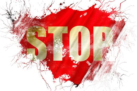 Grunge old stop sign flag Stock Photo