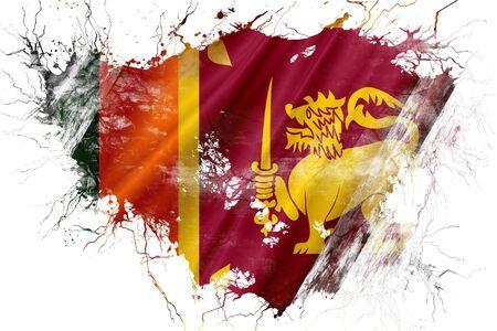 Grunge oude Sri Lanka vlag Stockfoto
