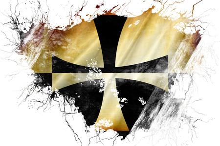 teutonic: Grunge old Teutonic knights flag Stock Photo