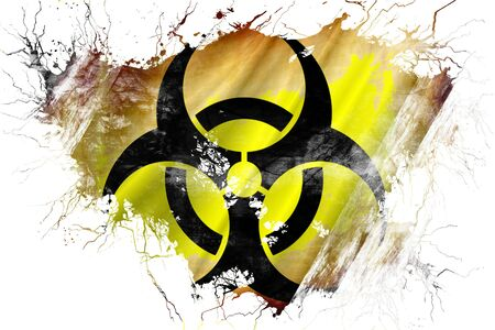 symbols: Grunge old Biohazard sign flag