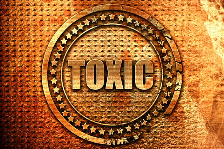 caution chemistry: toxic, 3D rendering, metal text