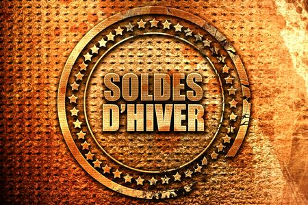 French text soldes d hiver on grunge metal background, 3D rend Stock Photo