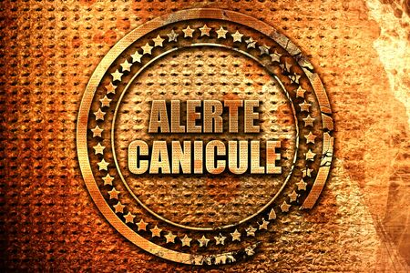 French text alerte canicule on grunge metal background, 3D ren