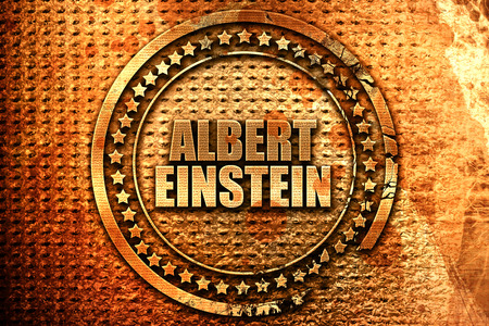 albert einstein, 3D rendering, metal text