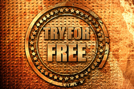 try for free, 3D rendering, metal text Stock Photo