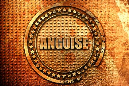 French text angoise on grunge metal background, 3D rendering