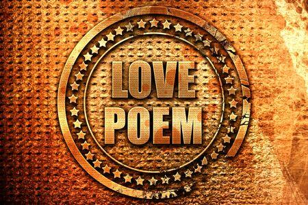 love poem, 3D rendering, metal text