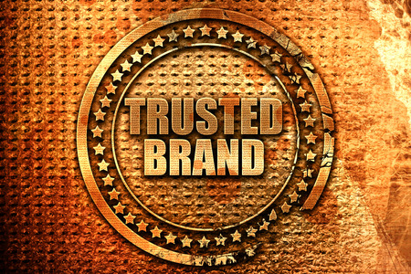 trusted: trusted brand, 3D rendering, metal text