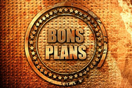French text bons plans on grunge metal background, 3D renderin Stock Photo