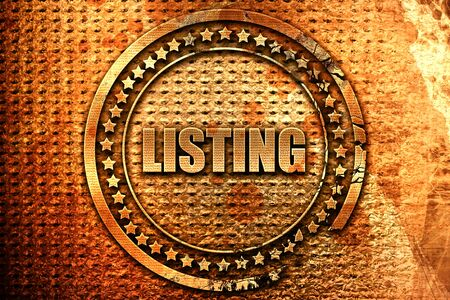 listing: listing, 3D rendering, metal text
