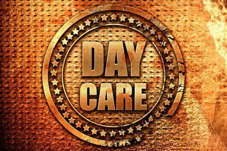 daycare, 3D rendering, metal text Stock fotó