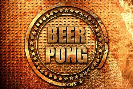 beer pong, 3D rendering, metal text
