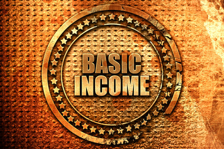 basic income, 3D rendering, metal text Stock Photo
