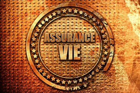 "Texte français ""assurance vie"" sur fond métallique grunge, rendu 3D"