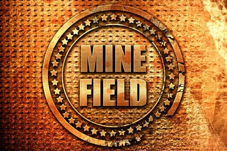 landmine: minefield, 3D rendering, metal text