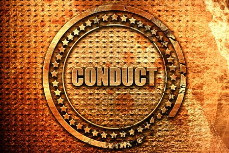 conduct, 3D rendering, metal text
