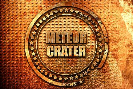 meteor crater, 3D rendering, metal text