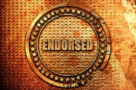 endorsed, 3D rendering, metal text