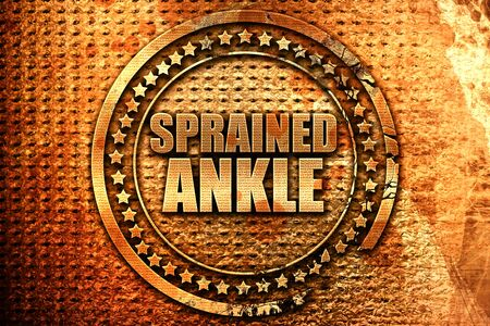 sprained: sprained ankle, 3D rendering, metal text Stock Photo