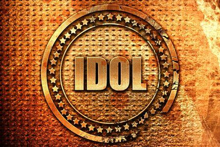 worshipping: idol, 3D rendering, metal text