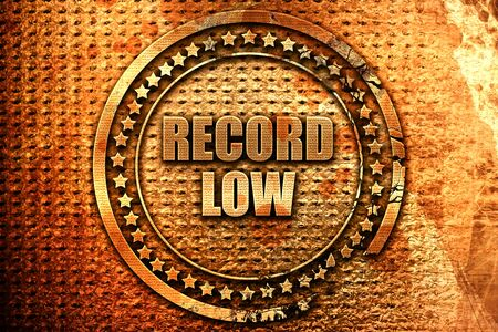 lows: record low, 3D rendering, metal text