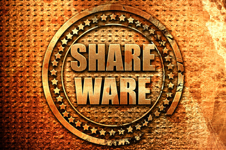 shareware, 3D rendering, metal text Stock Photo