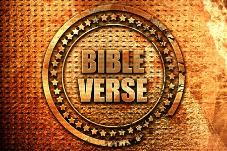 bible verse, 3D rendering, metal text Stock Photo