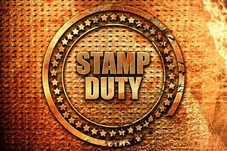 stamp duty, 3D rendering, metal text