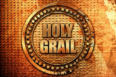 holy grail, 3D rendering, metal text